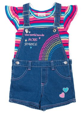 Short Sleeve Striped Rib T-shirt & Shortall, 2pc Outfit Set (Baby Girls & Toddler Girls)