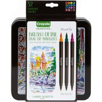 Crayola Signature Brush & Detail Dual-Tip Markers W/Tin, 16 Count