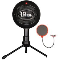 Blue Microphones Snowball iCE Versatile USB Microphone - Black (SNOWBALL iCE Black) with Universal Pop Filter Microphone Wind Screen with Mic Stand Clip