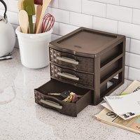 """Sterilite Small Weave 3 Drawer Storage Unit-8.625""""X7.25""""X6.875"""" Espresso"""