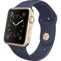 Apple Watch Sport 42mm Gold Aluminum Case with Midnight Blue Sport Band (Certified Refurbished)…