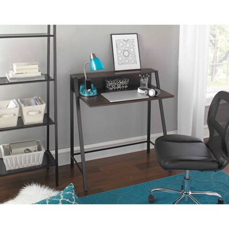 Mainstays Mid Century Writing Desk with USB Charging, Espresso Finish