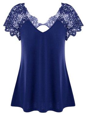 AKFashion Women's Casual V Neck Lace Short Sleeve Basic Loose Tee Plus Size Tops