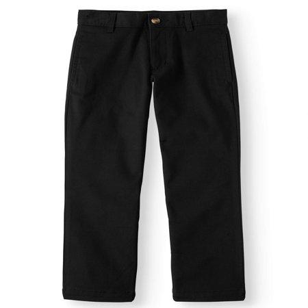 Wonder Nation Slim School Uniform Twill Pant with Double Knee (Little Boys & Big Boys) Boys School Uniform Pant