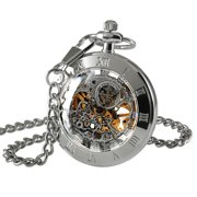 66753fb95 Mens Hand-winding Mechanical Classic Pocket Watch Silver Open Face Chain
