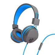JLab Audio Neon On Ear Headphones with Universal Mic - Gray/Blue