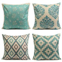 Asewin Vintage Aqua Mint Green Throw Pillow Cushion Cover 18''x18'' Cotton Linen PillowCase Standard Decorative Pillowslip Pillow Protector Cover Case for Sofa Couch Chair Car Seat