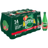 (24 Bottles) PERRIER Strawberry Flavored Carbonated Mineral Water, 16.9 Fl Oz