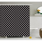 Black And White Shower Curtain Classical Pattern Of Polka Dots On Traditional Vintage
