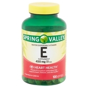 Spring Valley Water Dispersible Vitamin E Supplement Softgels, 450 mg, 100 count