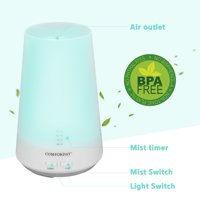 Comforday Upgraded 100ml Aromatherapy Essential Oil Diffuser Portable Ultrasonic Diffusers Cool Mist Humidifier with 7 Colors LED Lights and Waterless Auto Shut-off for Home Office Room White