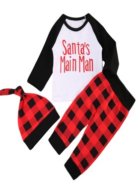 Baby Boys Christmas Outfits Long Sleeve Santa's Main Man T-shirt With Red Plaid Pant 6-12 Months
