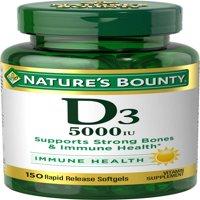 Nature's Bounty Vitamin D3 5000 IU, 150 Softgels, 2 Pack