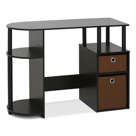 Espresso Home Office Set - Furinno JAYA Simplistic Computer Study Desk with Bin Drawers, Espresso