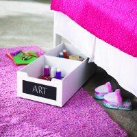 Homz White Underbed Wood Storage with Chalkboard Label Front, with Casters