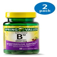 (2 Pack) Spring Valley Vitamin B12 Quick Dissolve Tablets, 5000 mcg, 60 Ct