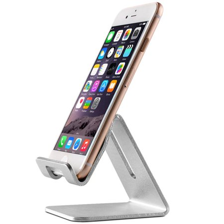 Topeakmart Desktop Cell Phone Stand Tablet Stand,  Aluminum Stand Holder for Mobile Phone (All Size) and Tablet, Silver ()