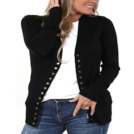 Women's V-Neck Button Down Knitwear Long Sleeve Soft Basic Knit Snap Cardigan ()