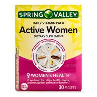 Spring Valley Active Women Daily Vitamin and Mineral Supplement Packs, 30 Packets