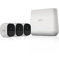 Arlo Pro Security Camera System with Siren - 3 Rechargeable Wire-Free HD Cameras with Audio, Indoor/Outdoor, Night Vision (VMS4330)