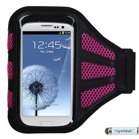 Premium Sport Armband Case for Samsung Galaxy S7, Express 3, Express Prime, Amp 2, Amp Prime, J3 (2016), A3 (2016), A5 - Black (with Hot Pink Mess Ports) + Mini Stylus