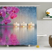 Zen Shower Curtain, Japanese Candle Relaxing Environment Cherry Blossoms Asian Inspirations Image, Fabric Bathroom