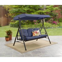 Mainstays Belden Park 3-Person Canopy Porch Swing Bed, Blue