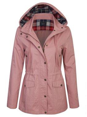 KOGMO Womens Zip Up Anorak Safari Jacket with Checker Lining Hoodie