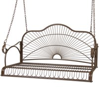 Best Choice Products Outdoor Hanging Iron Porch Swing Chair - Brown