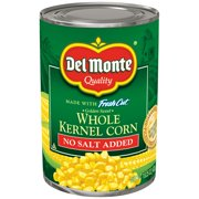 (6 Pack) Del Monte Fresh Cut Golden Sweet Whole Kernel Corn, No Salt Added, 15.25 Oz