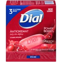 Dial Glycerin Bar Soap, Power Berries, 4 Ounce Bars, 3 Count