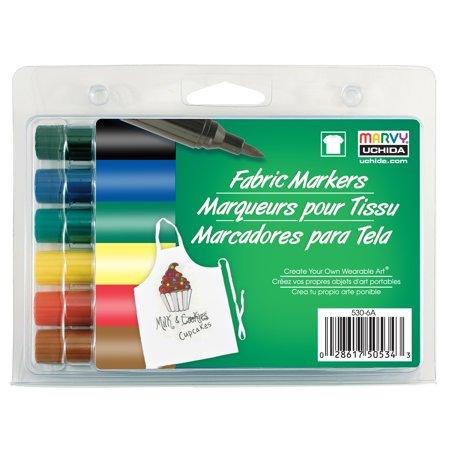 MARVY UCHIDA FABRIC MARKER BRUSH SET/6 PRIMARY](Marvy Snow Marker)