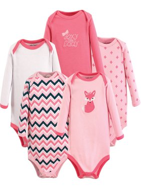 Baby Girl Long-Sleeve Bodysuits, 5-Pack