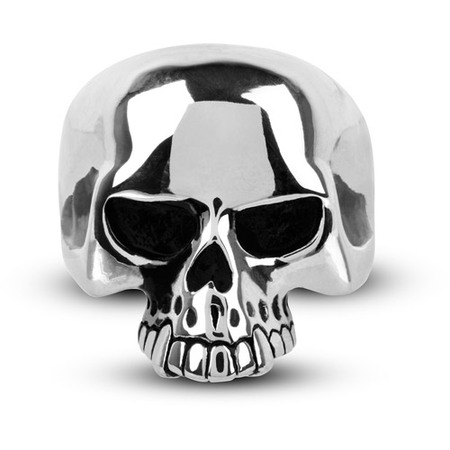White Gold Skull Ring (Men's Stainless Steel Black Oxidized Skull Ring )