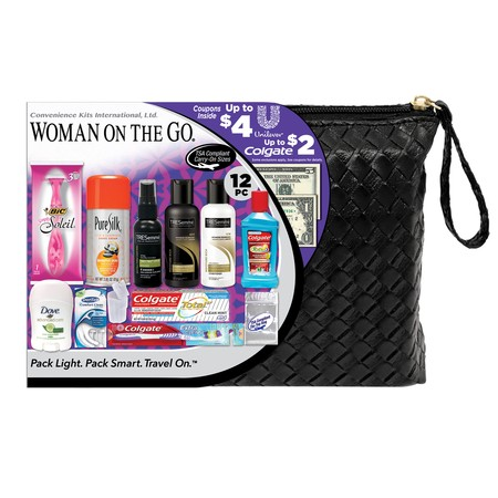 Convenience Kits International, Women's TRESemme Premium 12 PC Assembled Travel Kit, TSA Compliant, in Reusable Toiletry Zippered Bag w/ Handle, Featuring TRESemme: Shampoo-Conditioner-Hair Spray (Smart Travel Kit)