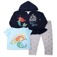 Disney Princess Ariel Zip Peplum Hoodie, T-shirt, T-shirt & Leggings, 3pc Outfit Set