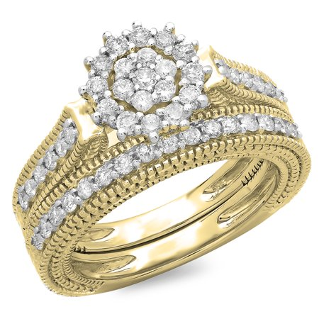 Dazzlingrock Collection 0.85 Carat (ctw) 14K Round Cut Diamond Vintage Bridal Cluster Engagement Ring Set, Yellow Gold, Size -