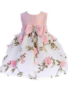 Crayon Kids Baby Girls Pink Floral Print Easter Flower Girl Dress