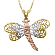 Simply Gold Openwork Dragonfly Pendant in 10K Three-Tone Gold