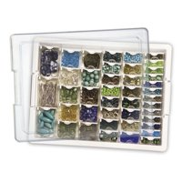 Darice Elizabeth Ward Bead Storage, 45 Pcs Assorted Bead Tray, 42 Containers of Various Sizes with a Tray and Lid
