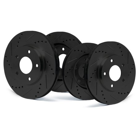 Max Brakes Front + Rear E-Coated Slotted Drilled Rotors Elite Brake Rotors SY173883 |Fits 2014 — 2017 Ford Special Service Police Sedan - image 5 of 5