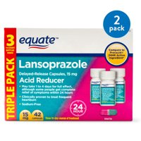 (2 Pack) Equate Acid Reducer Lansoprazole Delayed Release Capsules, 15 mg, 42 Ct, 3 Pk - Treats Frequent Heartburn