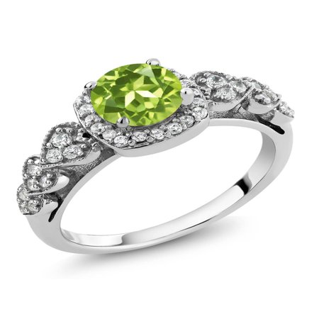 Green Marcasite Ring (1.17 Ct Round Green Peridot 925 Sterling Silver Women's Ring Size 5 to 9)