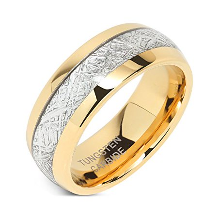 8mm Mens Gold Band (8mm Mens Tungsten Carbide Ring Meteorite Inlay 14k Gold Plated Jewelry Wedding Band Size)