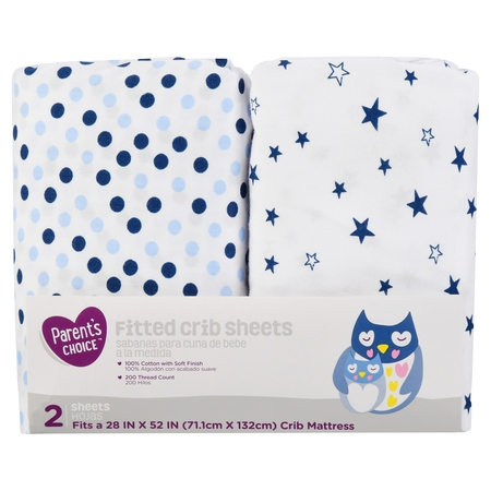 Organic Baby Sheets - Parent's Choice Fitted Crib Sheets, Choose Pattern - Blue Star, 2 Pack