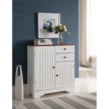 K&B Furniture White Wood Kitchen Storage Cabinet ()