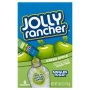 Jolly Rancher Singles To Go! Low Calorie Sugar-Free Green Apple Drink Mix, 0.62 Oz., 6 Count