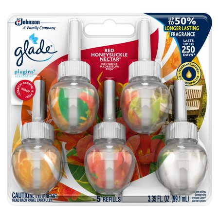 Glade Scented Oil - Glade PlugIns Scented Oil Refill Red Honeysuckle Nectar, Essential Oil Infused Wall Plug In, 3.35 FL OZ, Pack of 5