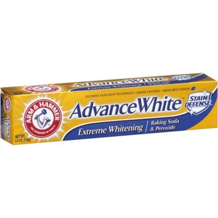 Arm & Hammer Advance White Baking Soda & Peroxide Stain Defense Toothpaste, 6 oz - Natural Anticavity Baking Soda