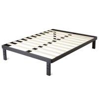 "intelliBASE 18"" Deluxe Metal Platform Bed Frame with Wooden Slats, Black Full"